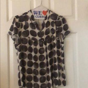 Banana republic puff sleeves polka dot blouse
